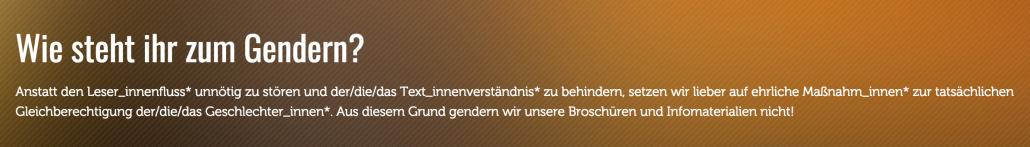 """Aktionsgemeinschaft FAQ zum Thema """"gendern"""""""